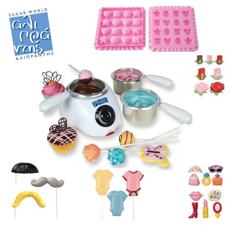 Η συσκευή αυτή είναι ιδανική για να λιώσετε σοκολάτα, candy melts ή καραμέλα και να φτιάξετε γκανάζ ή ακόμα και πάστα σοκολάτας.  Διακοσμήστε cake pops και διακοσμήσετε μπισκότα ή γεμίστε τις ειδικές φόρμες για να φτιάξετε τα δικά σας σοκολατάκια.  Τη συσκευή αυτή, φόρμες candy & Lollipop και για σοκολατάκια θα βρείτε στο ηλεκτρονικό μας κατάστημα!