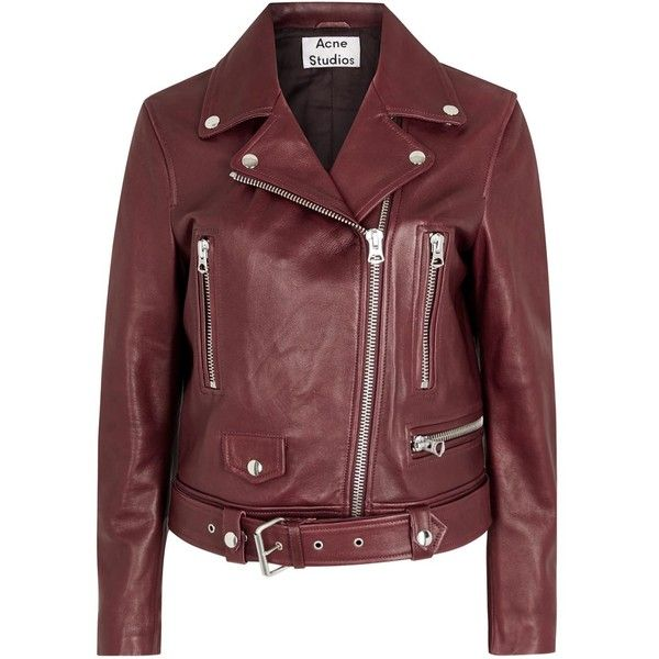 Womens Biker Jackets Acne Studios Mock Oxblood Leather Biker Jacket ($1,700) ❤ liked on Polyvore featuring outerwear, jackets, red biker jacket, leather motorcycle jacket, red moto jacket, biker jacket e asymmetrical zip jacket
