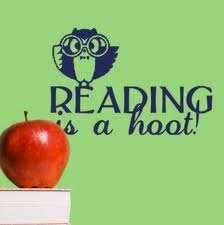 Back To School  Reading is a hoot vinyl wall decal sticker with owl School Decor for the classroom or teacher. $13.00, via Etsy.