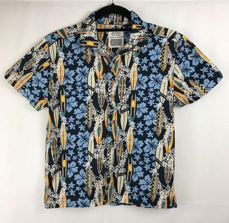 Cross Continental Old Navy Boys Hawaiian Shirt Surfboards Floral Size M #OldNavy #Everyday