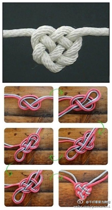 Rope heart- this would be cool to do in yarn and add it to a crochet project