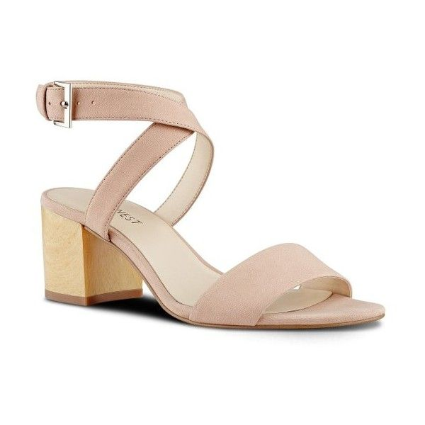 Women's Nine West Gondola Ankle Strap Sandal (580 GTQ) ❤ liked on Polyvore featuring shoes, sandals, light pink leather, low block heel shoes, block heel sandals, low block heel sandals, ankle wrap sandals and leather sandals