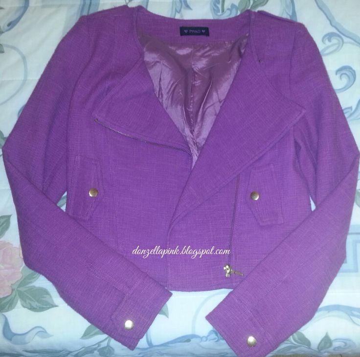 Jaqueta roxa com ombreiras Pinko