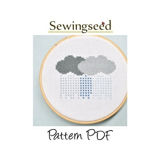 Rain Clouds Stormy Weather Cross Stitch Pattern from Sewingseed on Etsy.