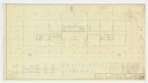 MoMA | The Collection | Ludwig Mies van der Rohe. Pavilion Apartments and Town Houses, Lafayette Park, Detroit, MI, Plan, sections. 1958