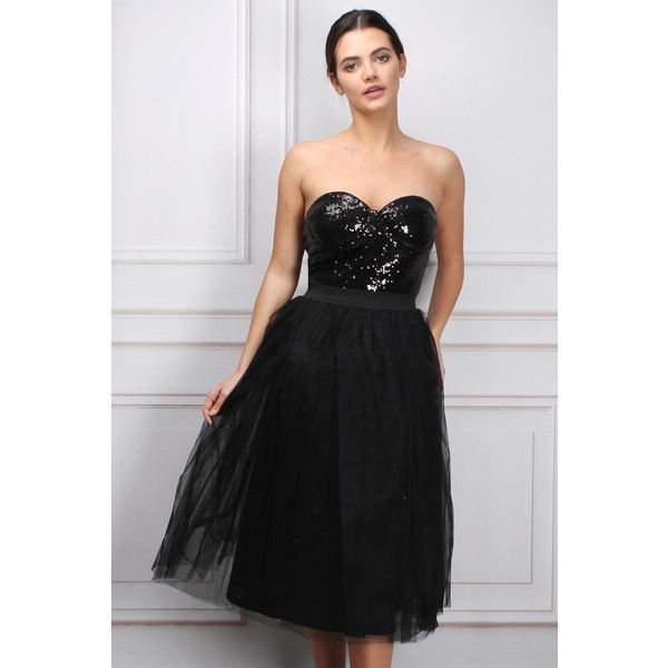Limited Edition Black Bustier Tutu Dress (£15) ❤ liked on Polyvore featuring dresses, bustier midi dress, midi cocktail dress, calf length dresses, midi dress and mid calf dresses