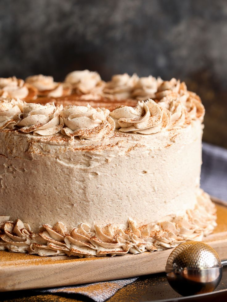 Cinnamon Roll Layer Cake is the perfect excuse to eat cake for breakfast! Three layers of buttery, cinnamon cake filled with cinnamon buttercream frosting and a sweet cinnamon glaze!  - From cookiesandcups.com