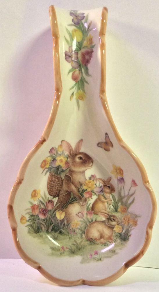 Cracker Barrel Easter Traditions Bunnies Flowers Butterflies Ceramic Spoon Rest
