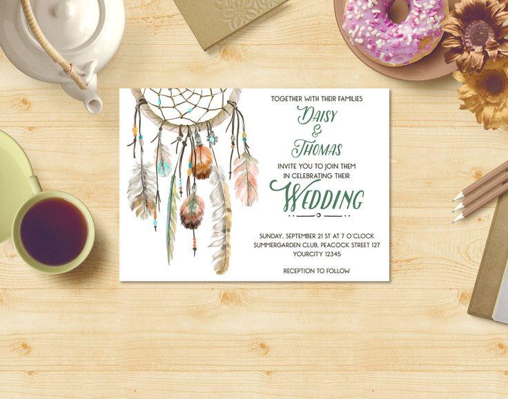Boho Wedding Invitation Printable, Dreamcatcher Wedding Invitation Suite, Save the Date Printable, Printable Wedding Invite, Feathers WI005 by dreamONprints on Etsy