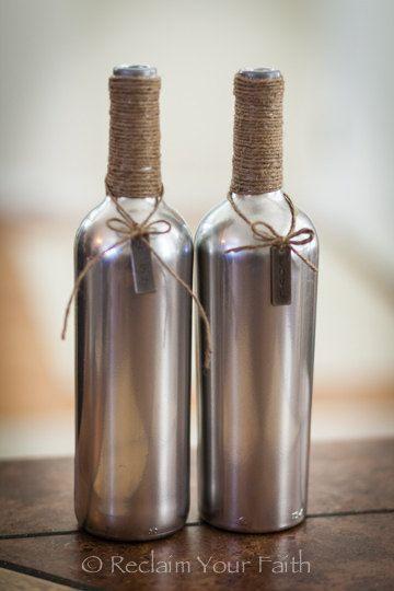 Artículos similares a Plata botellas de vino en Etsy