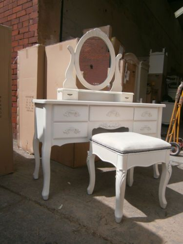 DRESSING-TABLE-MIRROR-STOOL-CREAM-DISTRESSED-PROVENCALE-STYLE-NEW