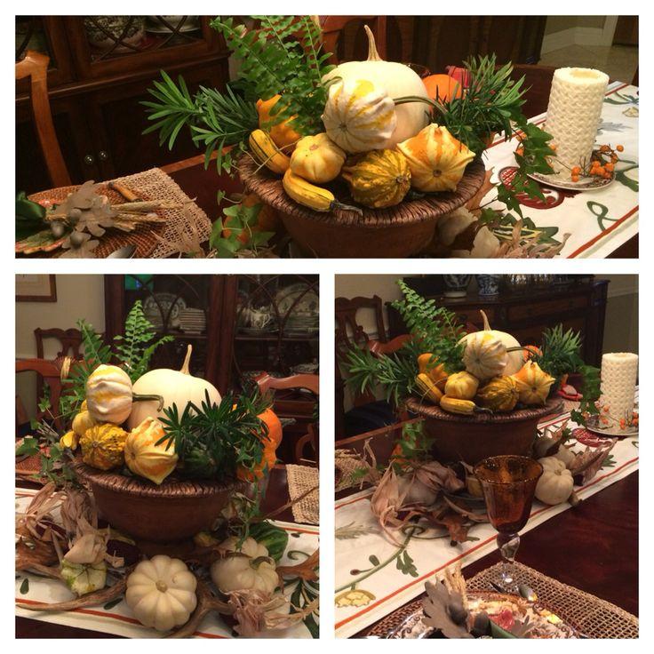 Thanksgiving centerpiece garden urn gourds pumpkins