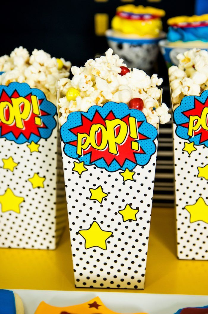 Superhero Popcorn from a Wonder Woman Superhero Birthday Party on Kara's Party Ideas | KarasPartyIdeas.com (35)