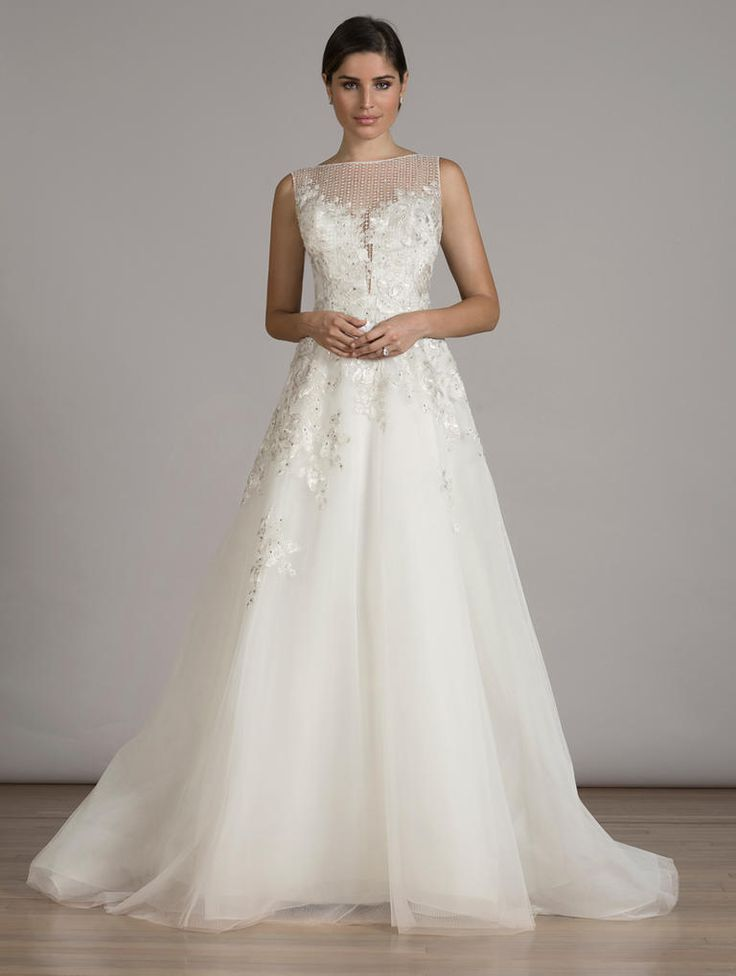 LIANCARLO A-line wedding dress with embroidery, beading and illusion neckline from Fall 2016