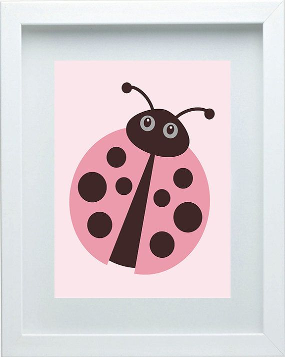Ladybug Nursery Decor  Pink Brown Wall Art Baby by FMDesignStudio, $15.00 - adorable!