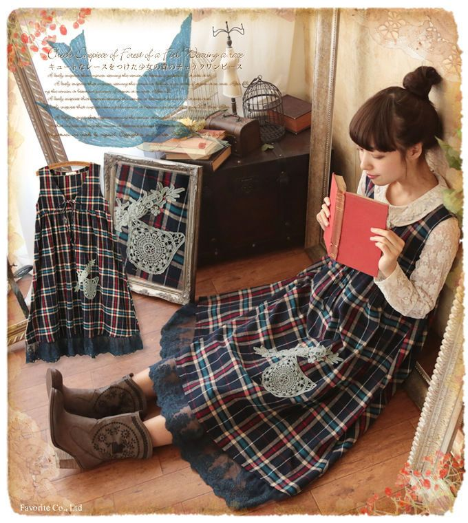 Mori Girl Vintage Sleeveless Plaid Dress Lagenlook Lolita Cotton Japanese #EQ2-4