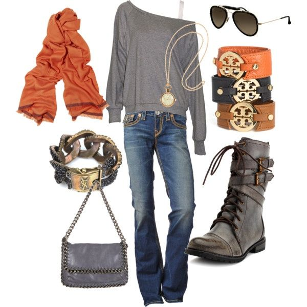 Love itOrange, Fashion, Style, Clothing, Colors, Tory Burch, Grey, Fall Outfit, Combat Boots