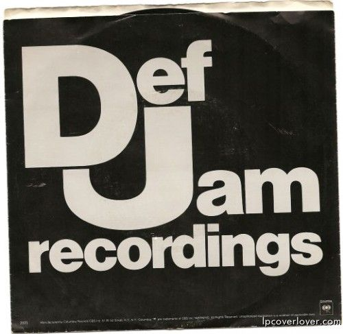 Def Jam Records picture sleeve back.  Def Jam was the hip-hop house that Rick Rubin and Russell Simmons built.  The first single released with a Def Jam Recordings logo was T La Rock & Jazzy ...