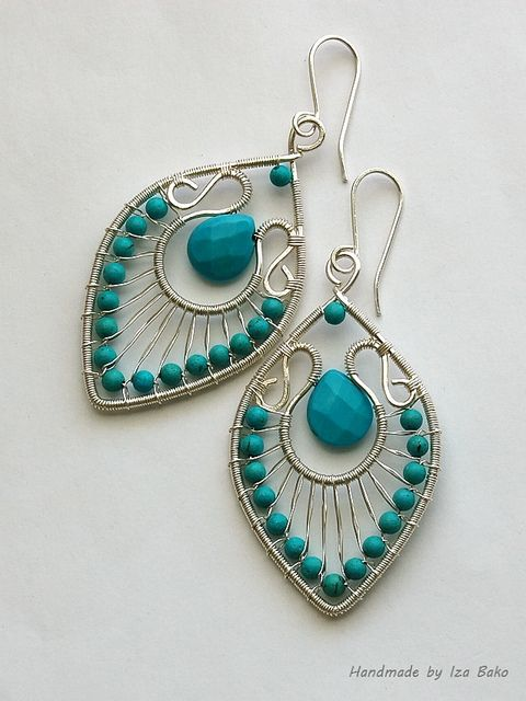 Silver with turquoise by izabako {cmc: these almost look like beaded peacock feathers... Beautiful!!}