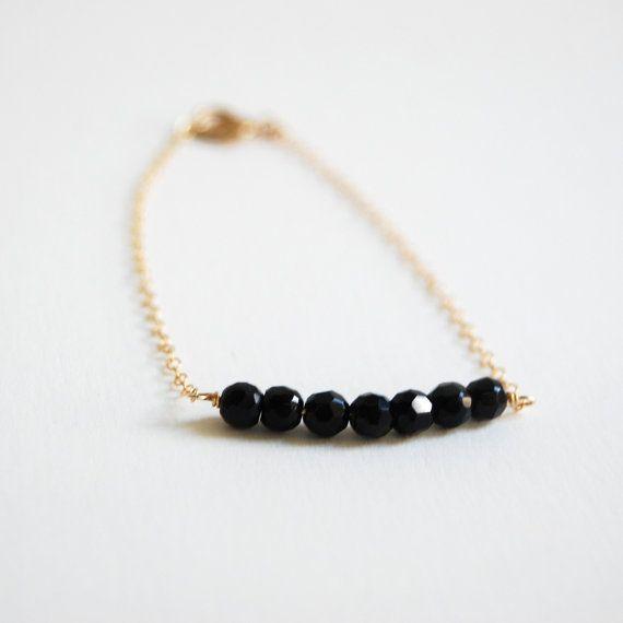 Io lani bracelet - delicate black agate and 14kt gold filled bracelet: Delicate Black, Simple Jewelry, Black Agates, Bracelets Delicate, Necklaces, Fillings Bracelets, Ios Lani, 14Kt Gold, Lani Bracelets
