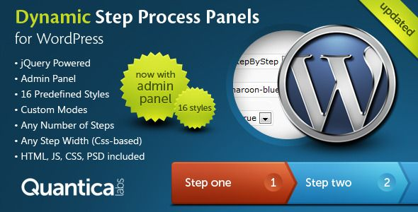 Dynamic Step Process Panels for WordPress is a lightweight plugin. With it you can present data in the form of any number of steps or tabs. It can be used to multistep forms or product descriptions. Tags: wordpress plugin, ajax, arrow, events, jquery, panel, panels, plugin, process, tab.