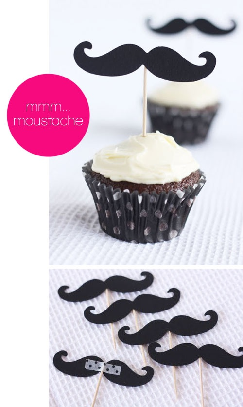 """#DIY Moustache fun.  Yet another cute mustache idea!  I wonder who was the genius that woke up one morning & thought, """"Mustaches!  They're gonna be the next BIG thing!"""""""