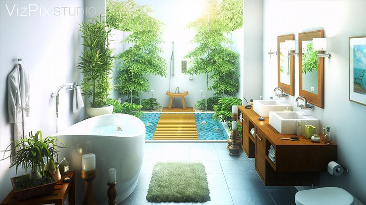 This 3D architectural visualization of an outdoor tropical spa bathroom in Bali was created in 3ds Max using the Vray renderer.