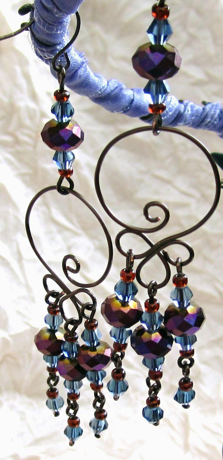Purple Iris Wirework Earrings By Sancha310spiantart On @deviantart
