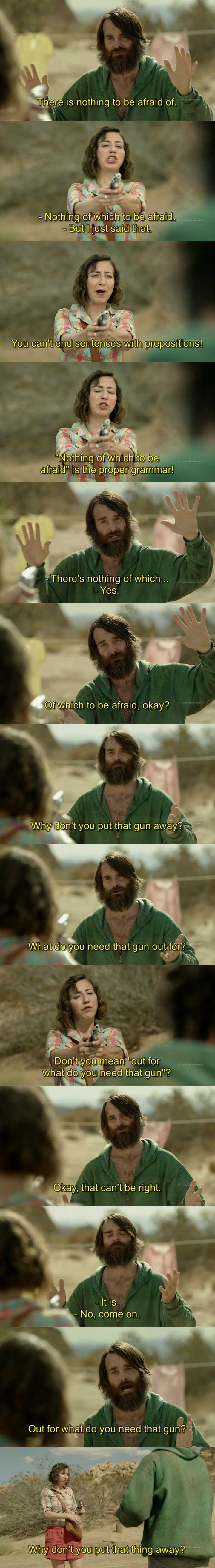 The Last Man on Earth: Carol instructs Phil on how to avoid ending sentences with prepositions.