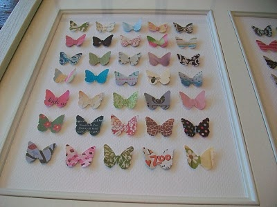 This, with upcycled greeting cards--gotta try it!Wall Art, Diy Ideas, Diy Art, Kids Room, Girls Room, Paper Punch, Greeting Card, Paper Butterflies, Butterflies Artworks