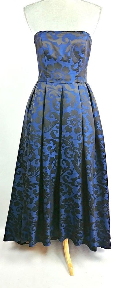 a4da056fb06c ML Monique Lhuillier Blue Black High Low Madame Damask Dress Size 6   MoniqueLhuillier  FitFlareDress  Formal