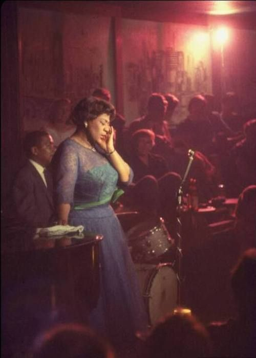 Ella Fitzgerald performing at Mr. Kelly's (now Gibson's on Rush), 1958, Chicago.