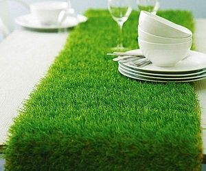 Faux Grass Table Runner