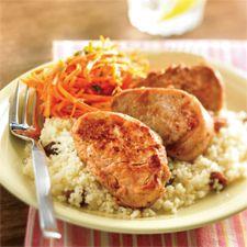 Recette Médaillons de porc à la marocaine et salade de carottes - Coup de Pouce