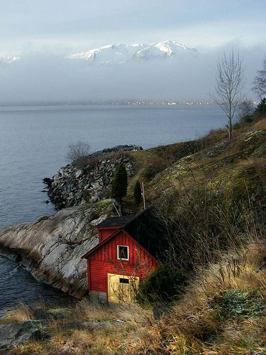 Boathouse, distant mountains by gonfishin, via Flickr  Sognefjord, Norway