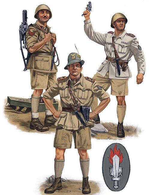 """Regio Esercito - Assault Engineers, Egypt, 1942"""" • Caporalmaggiore of a mortar section, XXXI Battaglione Guastatori • Tenente, XXXI Battaglione Guastatori • Maggiore Paolo Caccia Dominioni"""
