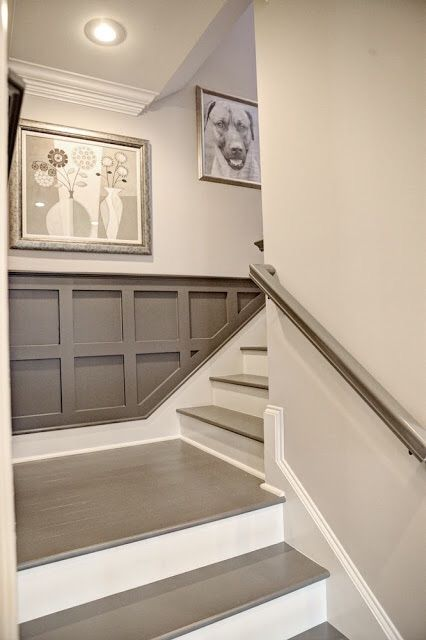 "Darker color is Benjamin Moore's ""Cromwell Gray,"" which I love because it's gray/green/brown depending on the light. I painted the risers with Sherwin Williams's porch paint in ""Antique White""."
