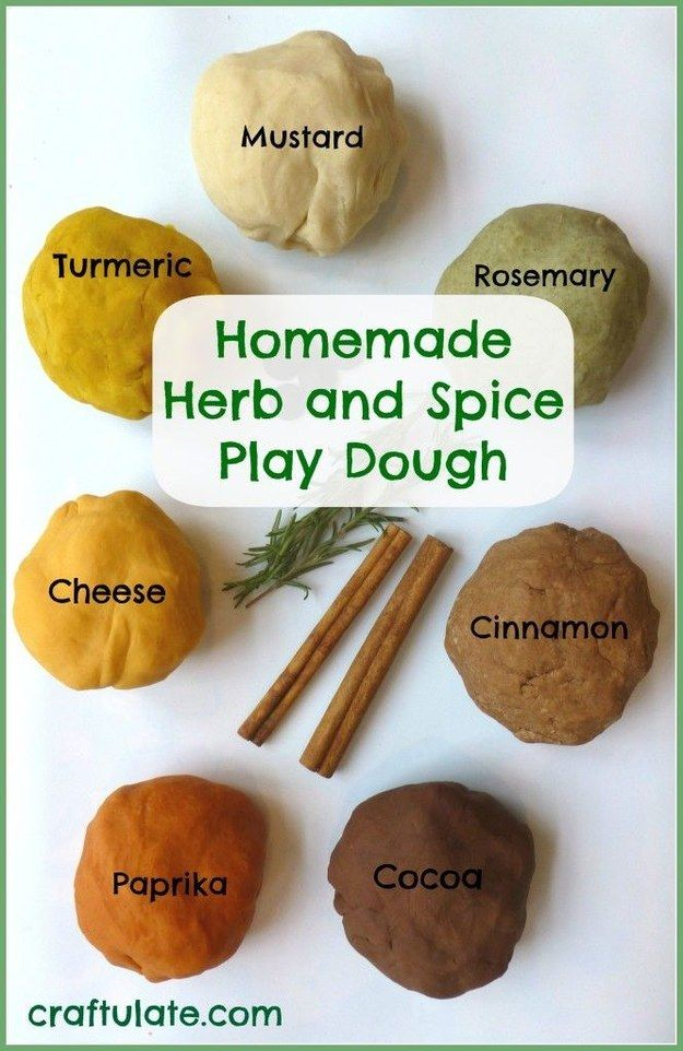 Get hip to herbs and spices with this naturally scented and colored play dough. | 19 Kitchen Science Experiments You Can Eat