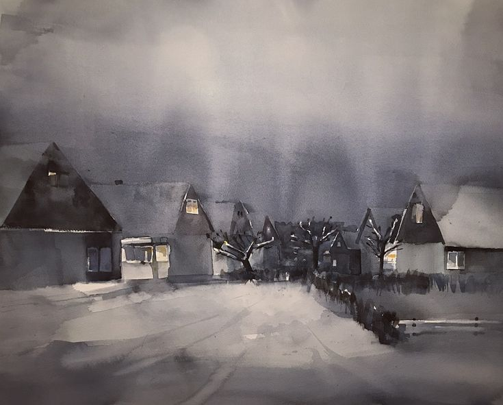 'Midwinter', watercolor by Magnus Petersson.