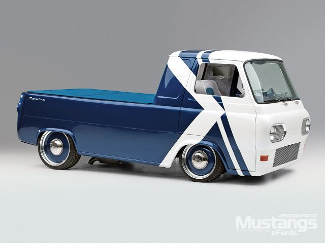 1961 Ford Econoline Pickup Front View. Not sure about the graphics, but still a very sweet ride.