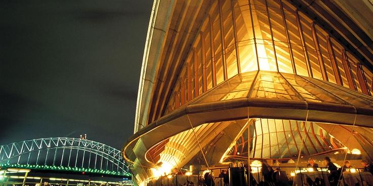 Opera house at night.