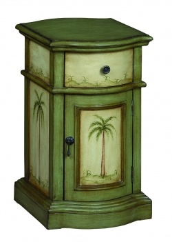 Coast To Coast 94044 One Drawer One Door Cabinet In A Largo Green And Cream  Finish With Palm Tree Décor Palm Tree Décor. Made Of Mdf. Wipe With Dry  Coth.