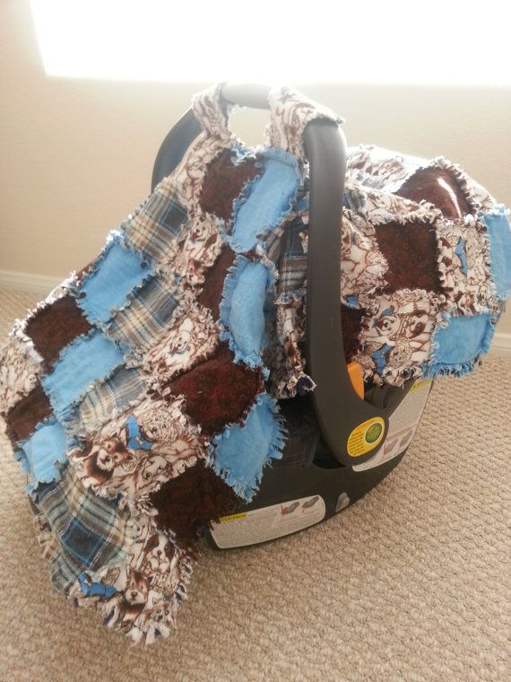 Baby Boy Puppy Car Seat Cover/Canopy by seeknfindcomforts on Etsy