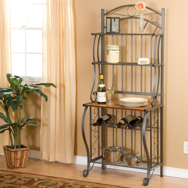 Scroll Bakers Wine Rack - The beautiful Scroll Bakers Rack features a wooden shelf finished in cherry veneer, and a total of three ventilated metal shelves 10.5 inches apart to...