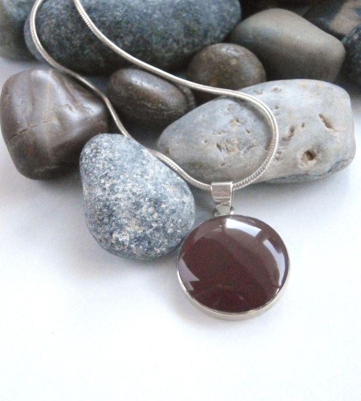 Carnelian Pendant - Vintage Necklace - Round Pendant - Sterling Silver