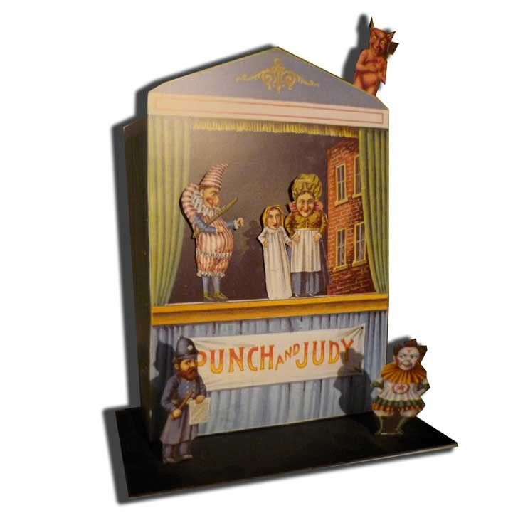 Victorian Punch & Judy Show model to make in card. A reproduction of an original paper toy from the Philadelphia Inquirer 1896. The booth can be constructed with 9 traditional characters including a gruesome hangman and devil.