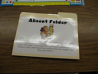 Absent student folder - have students at the absent child's table put work into the folder as it's given out during the day