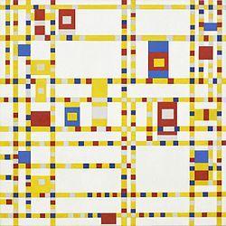 Piet Mondrian, 1942 - Broadway Boogie Woogie A pesar de ser un trabajo abstracto, esta pintura está inspirada en un ejemplo del mundo real: la cuadrícula de la ciudad de Manhattan, y el Broadway boogie woogie, música que a Mondrian le encantaba bailar.