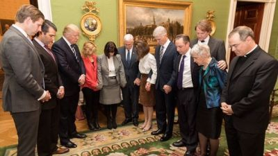 In a tweet last night, President Donald Trump posted this picture and wrote that the prayer circle occurred after he announced his nomination of Judge Neil Gorsuch for the Supreme Court.