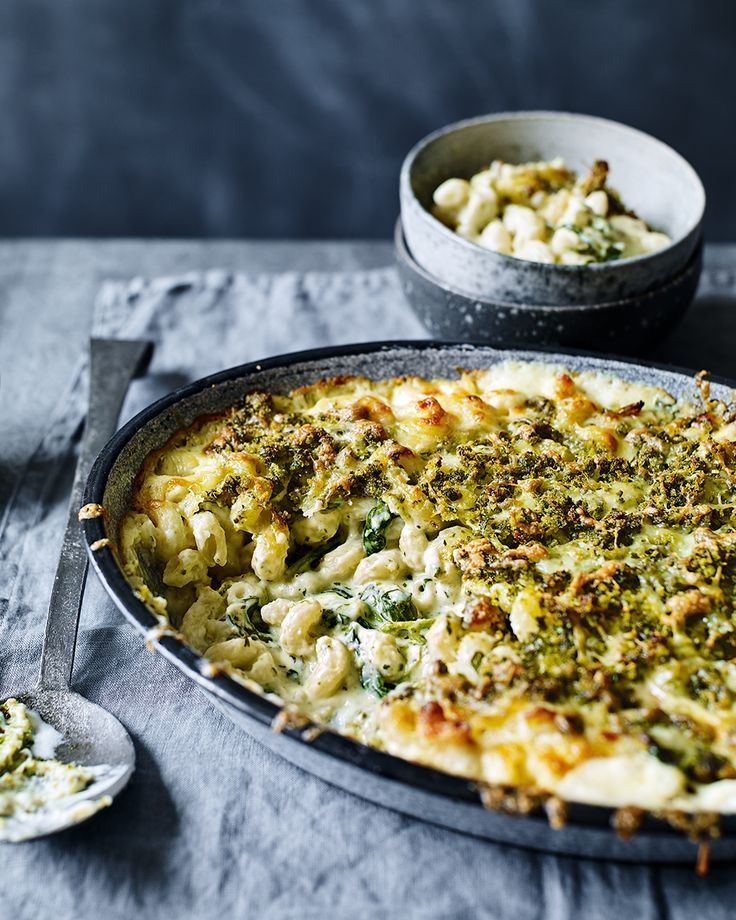 We've taken macaroni cheese to the next level with this easy vegetarian recipe – spinach is stirred through creamy, cheesy macaroni and topped with a crunchy, pesto breadcrumbs. Perfection.